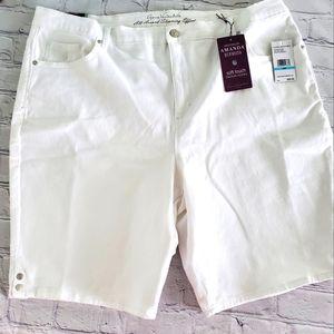 PLUS WHITE BERMUDA JEAN SHORTS